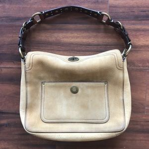Vintage Coach Nubuck Leather Kiss Lock Purse